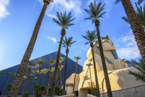 Las Vegas, USA - February 15, 2017 : Sunlight and LUXOR Hotel and Casino on Las Vegas Blvd on a sunny day. Las Vegas is world famous city  for convention and entertainment.